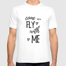 come fly with me SMALL Mens Fitted Tee White