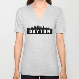 Dayton, Ohio City Skyline Silhouette Unisex V-Neck