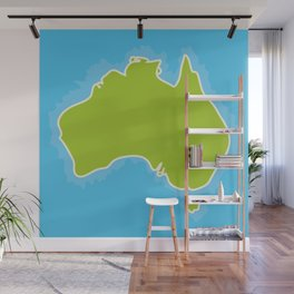 map of Australia Continent and blue Indian Ocean. Vector illustration Wall Mural