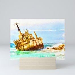 shipwreck aqrestd Mini Art Print