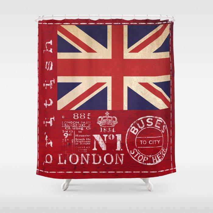 Union Jack Great Britain Flag Shower Curtain By Lebensart