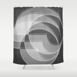Spacial Orbiting Spiral in Charcoal Gray Shower Curtain