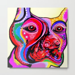 Doberman Pinscher Close Up Bright Colors Metal Print