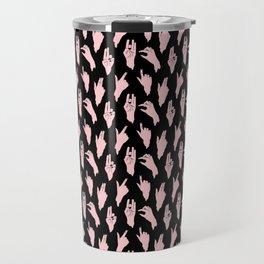 pink n black swipes Travel Mug