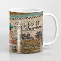 detroit Mugs featuring Enjoy Detroit by AlfesDesigns