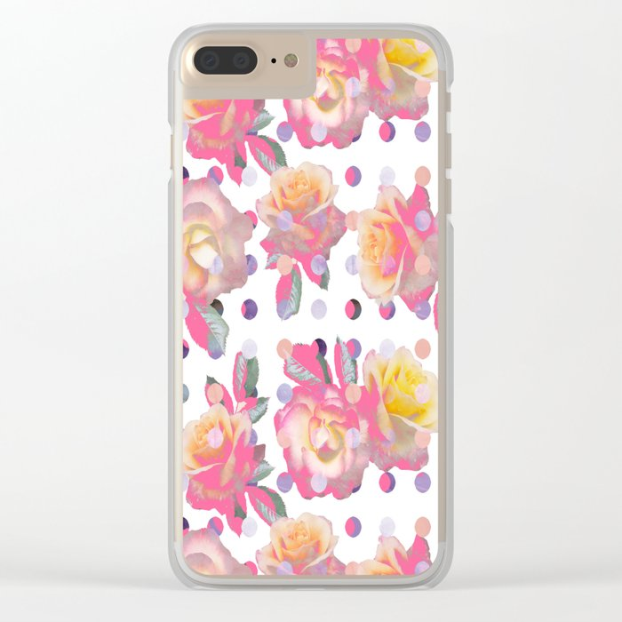 Sweet Pink Rose Garden Clear iPhone Case