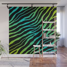 Ripped SpaceTime Stripes - Lime/Cyan Wall Mural
