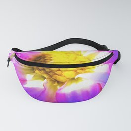 Purple, Pink and White Dahlia with a Bright Yellow Center Fanny Pack