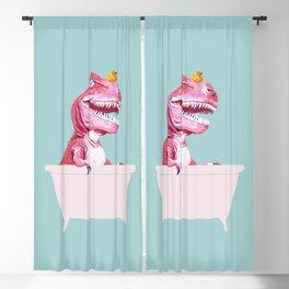 Pink T-Rex in Bathtub Blackout Curtain
