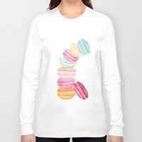 macarons Long Sleeve T-shirts featuring MACARONS & STARS  by Monika Strigel
