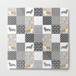 Corgi Patchwork Print - grey, dog, buffalo plaid, plaid, mens corgi dog Metal Print