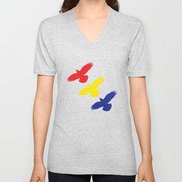 Flying Ravens in Color Unisex V-Neck