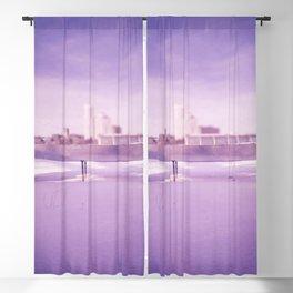 Purple winter city Blackout Curtain