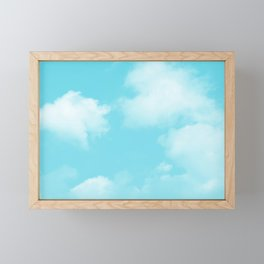 Aqua Blue Clouds Framed Mini Art Print