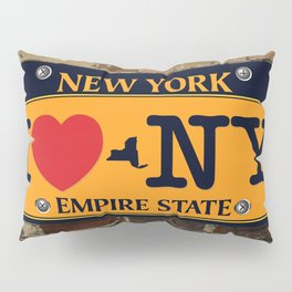 I love NY New York Car Licence Plate Pillow Sham