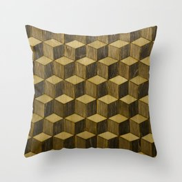 Optical wood cubes Throw Pillow