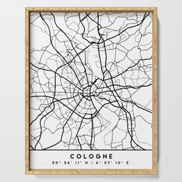 COLOGNE GERMANY BLACK CITY STREET MAP ART Serving Tray