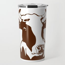 Animal Art Brown Cow Travel Mug