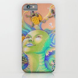 Mermaid With Baby Turtles Drawing iPhone Case