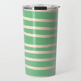 Abstract Drawn Stripes Gold Tropical Green Travel Mug
