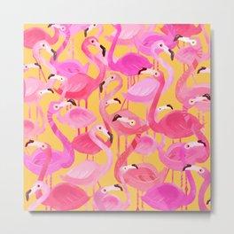 Flamingo pattern orange Metal Print