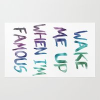 holographic Area & Throw Rugs featuring Wake Me Up When I'm Famous by BEAU TYPOGRAPHIE