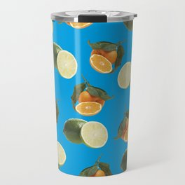 Lime and Clementine Fruits Pattern on Cyan Background Travel Mug