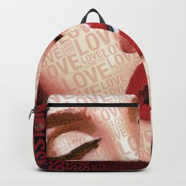 Love And Passion Portrait Of A Woman With Words Backpack