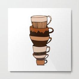 Brown Tea Cups Metal Print