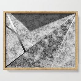 Combined abstract pattern in black and white . Serving Tray