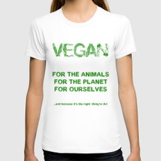 Why Vegan? White Womens Fitted Tee SMALL