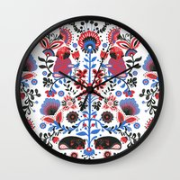 folk Wall Clocks featuring The Pug of Folk  by Huebucket