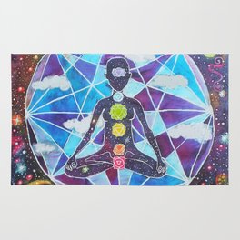 Meditation Chakra Space Tapestry Rainbow Galaxy Psychedelic Painting Art (Intergalactic Beings) Rug