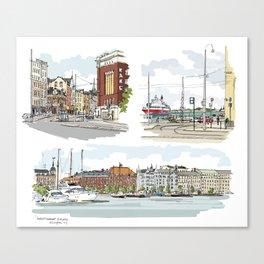 Street sketches Helsinki Canvas Print