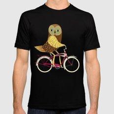 Owl Bicycle Mens Fitted Tee Black MEDIUM