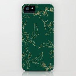 Forest green elegant gold foil botanical leaves pattern iPhone Case