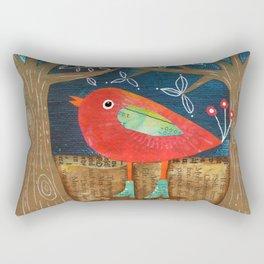 Red Bird in Galoshes Rectangular Pillow