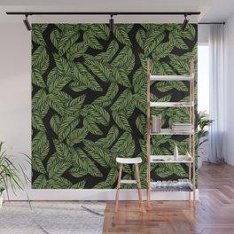 Green & Black Tropical Leaves Pattern Wall Mural
