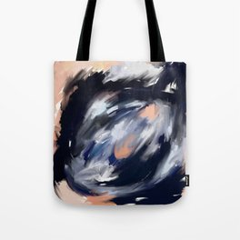 storm's eye - an abstract painting in peach, blue, white and black. Tote Bag