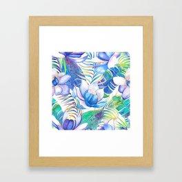 Blue lotus tropical leaves Framed Art Print