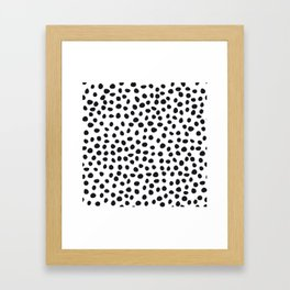 Hand Drawn Polka Dots, Spots Black &  White Framed Art Print