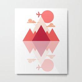 Neon Pink Mountain Sunset Metal Print