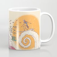 surf Mugs featuring Surf Before Christmas by Victor Vercesi