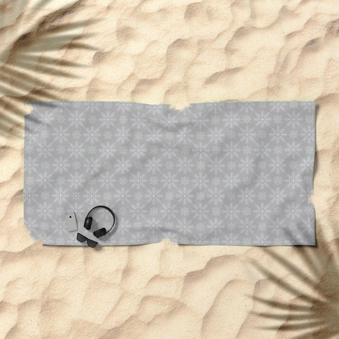Snowflakes on Gray Beach Towel