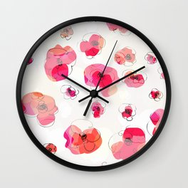 RED FLOWERS PATTERN NO. 3 Wall Clock