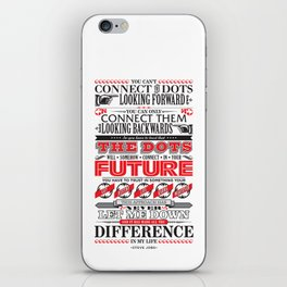 "Steve Jobs ""Connecting the dots"" quote print iPhone Skin"