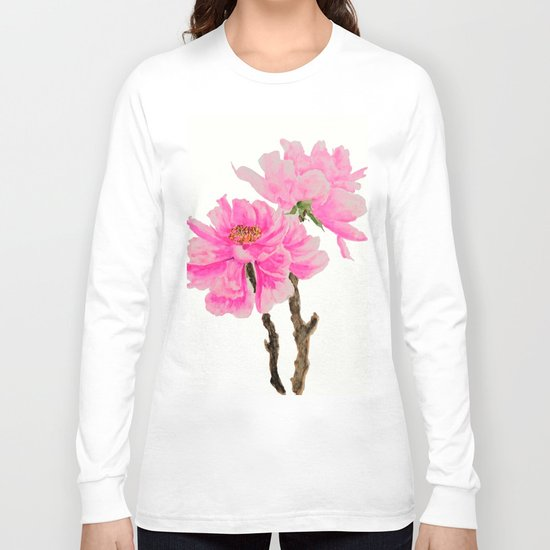 two pink peonies watercolor Long Sleeve T-shirt