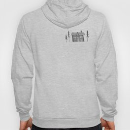 Home Sweet Home Cabin Pen and Ink Illustration Hoody