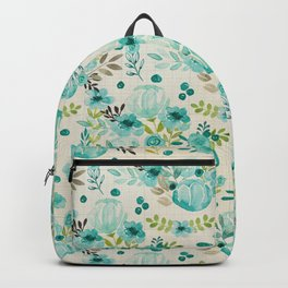 Bella Blue Vintage Blossoms, Watercolor Flowers, Floral Pattern, Backpack