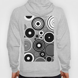 Geometric black and white rings on metallic silver Hoody